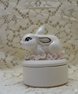 Vintage White Rabbit With Fabric Flowers Trinket/Ring Box // Vanity Decor - $8.50