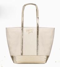 Victoria's Secret Ivory Gold Shimmer Bling Sequin Tote Bag 2017 Limited Edition - $22.26