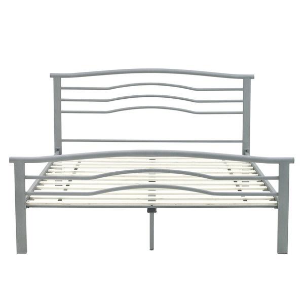 Full size platform metal bed gray headboard footboard for Full size footboard