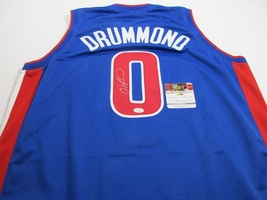 ANDRE DRUMMOND -  DETROIT PISTONS HAND SIGNED BLUE BASKETBALL JERSEY - COA - $129.95