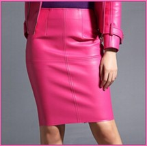 Posh Pink British Style Faux Patent Leather Knee Length Designer Pencil