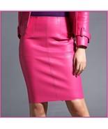 Posh Pink British Style Faux Patent Leather Knee Length Designer Pencil - $89.95