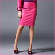 Posh Pink British Style Faux Patent Leather Knee Length Designer Pencil image 2