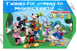 Mickey Mouse Clubhouse Birthday Personalized Thank You Tags Set of 8 (Printable) - $5.00