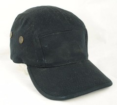 K & B Ethos Black 5 Panel Cap Hat Leather Strap GUC - $9.99