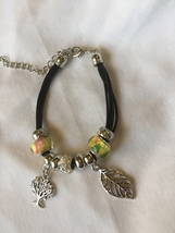 Charm Bracelet with silver tree and leaf charms - $12.99
