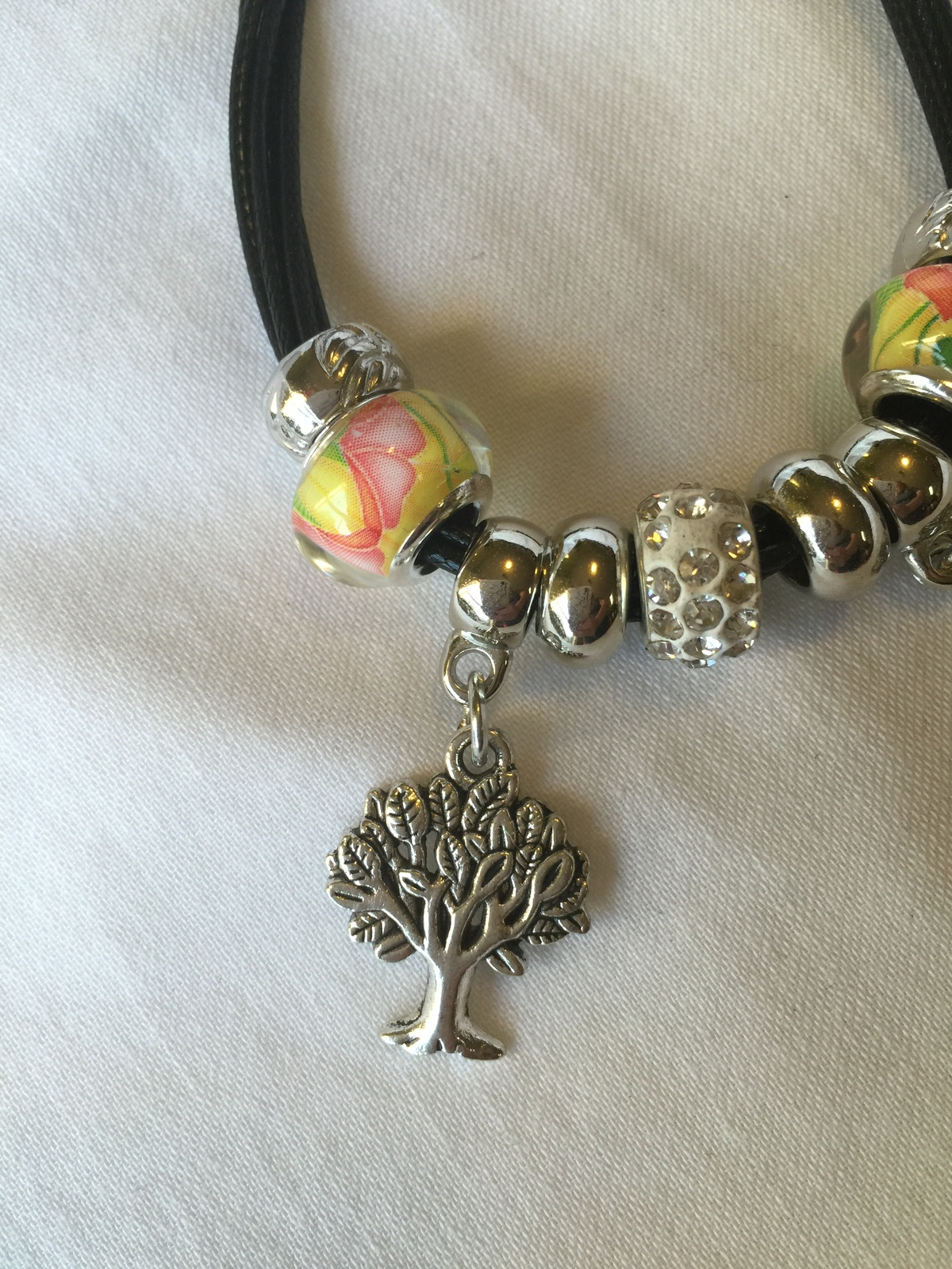 Charm Bracelet with silver tree and leaf charms