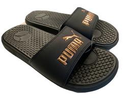 PUMA Womens Sz 6 Cool Cat Athletic Sport Slides Sandals Black Rose Gold - $34.97