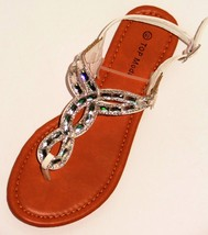Top Moda Womens Gladiator Faux Gems Comfortable Strap Summer Thongs Flat Sandals - $14.98