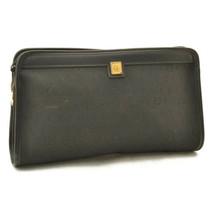 CHRISTIAN DIOR Canvas Clutch Bag Black Auth 10610 - $99.00