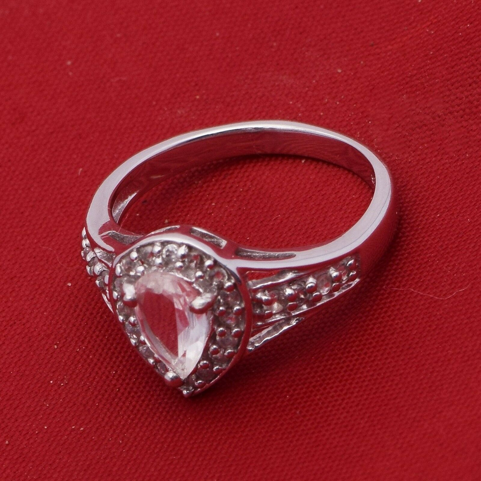 Pear Shape White Topaz Stone Solitaire Split Shank Wedding Halo Ring 925 Silver