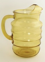 """8"""" VINTAGE KITCHENWARE LG MOLD BLOWN RIBBED YELLOW GLASS PITCHER WITH IC... - $50.00"""