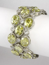 NEW 84CTW  CHUNKY PERIDOT+CLEAR CLUSTER CUBIC ZIRCONIA TENNIS BRACELET-B... - $187.11