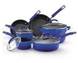 NEW!! Porcelain Enamel II Nonstick 10 Piece Cookware Set Blue Gradient US