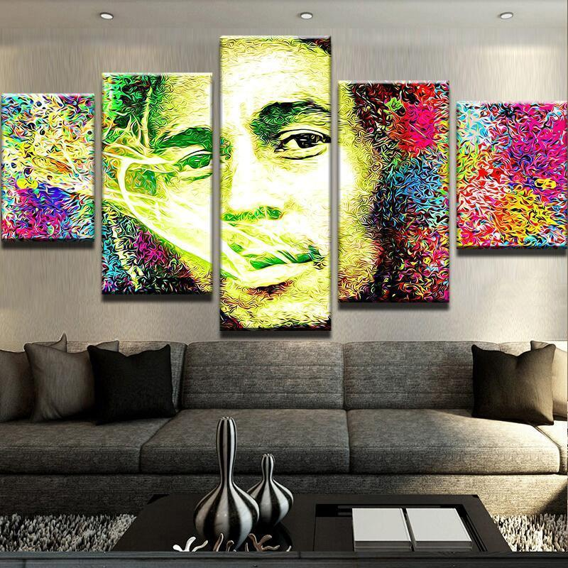 Framed 5 Pieces BOB MARLEY ABSTRACT Picture Poster Canvas