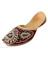 Women Shoes Indian Handmade Leather Mojari Oxfords Designer Maroon Jutti... - $29.99