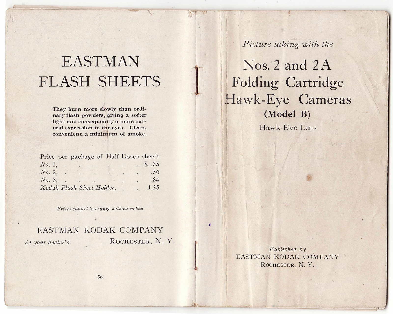 Kodak Hawk-Eye Cameras No. 2 and 2A Instruction Book in Great Shape Collectible - $23.00