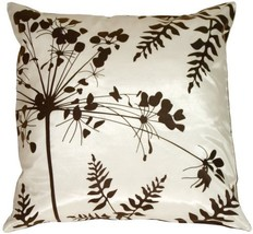 """Pillow Decor - White with Brown Spring Flower and Ferns 20"""" x 20"""" Decora... - $34.95"""