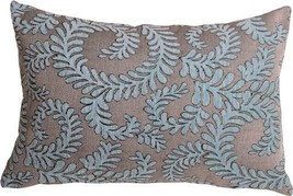 Pillow Decor - Brackendale Ferns Sea Blue Rectangular Throw Pillow - $49.95