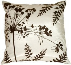 "Pillow Decor - White with Brown Spring Flower and Ferns 16"" x 16"" Decora... - $27.95"