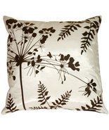 "Pillow Decor - White with Brown Spring Flower and Ferns 16"" x 16"" Decora... - £19.98 GBP"