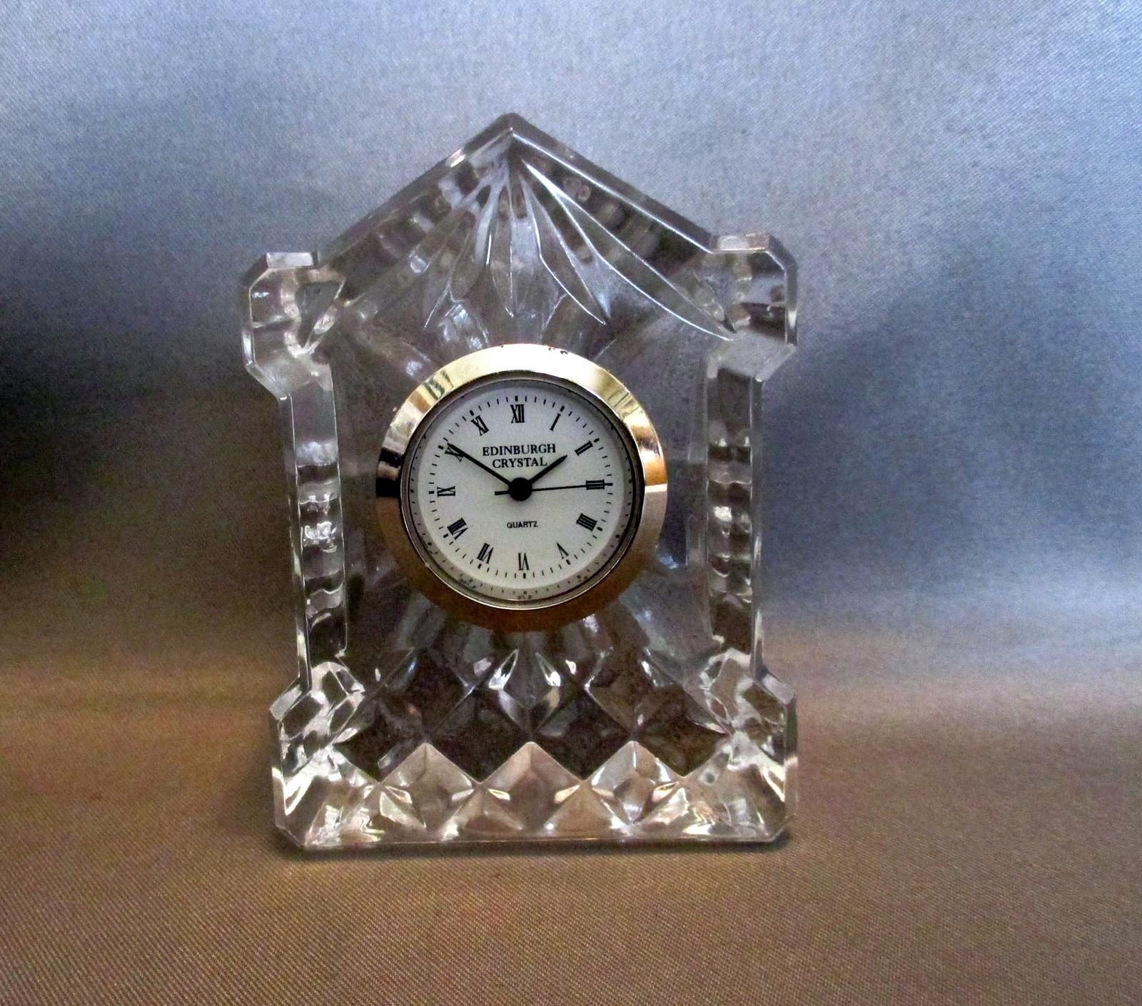 "Edinburgh Crystal Miniature Mantel Clock 2"""