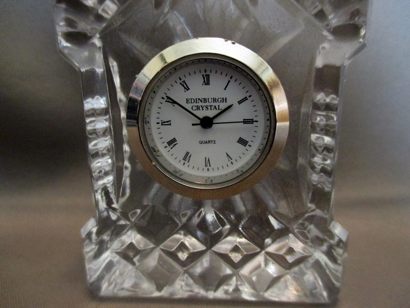 """Edinburgh Crystal Miniature Mantel Clock 2"""" image 2"""