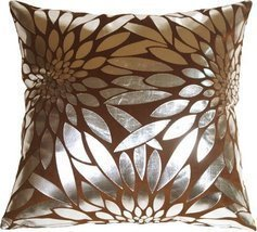 Pillow Decor - Metallic Floral Brown Square Throw Pillow - $29.95