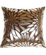 Pillow Decor - Metallic Floral Brown Square Throw Pillow - £22.52 GBP