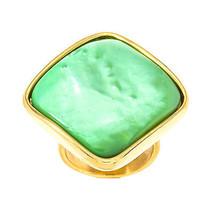 Gold-Tone Stainless Steel Green Diamond Shape B... - $14.99