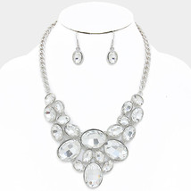 Silver & Clear Oval Crystal Rhinestone Link Bib Necklace W308078 - $18.00