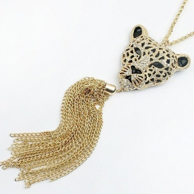 Primary image for Queen Style Leopard Head Pendant Long Necklace