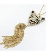 Queen Style Leopard Head Pendant Long Necklace - $7.99