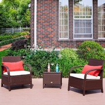 Outdoor 3 PC Bistro Sofa Set Wicker Sectional Furniture Chairs with Coff... - $199.99
