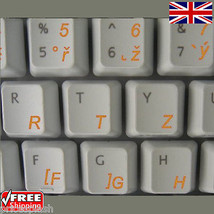 Czech Transparent Keyboard Stickers With Orange Letters For Laptop Notebook - $3.94