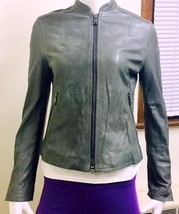 Authentic Coach Women's Kra Leather Racer Jacket Slate   X Small - $364.65