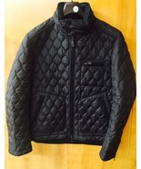 Authentic COACH Men's Bowery Black Quilted Racer Jacket Coat Hooded - LARGE - $232.82