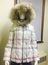 Authentic COACH Tattersall Short Puffer Jacket Coat with Fur Trimmed Hood XSmall - $232.82