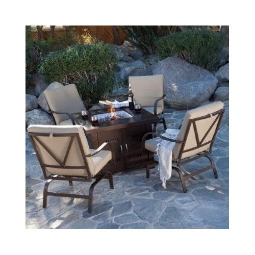 Bronze Patio Table Fire Pit Propane Patio Heater Outdoor Heating Center Table image 8