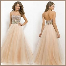 Nude Pink Sequin Bling Strapless Chiffon Party Prom Gown Empire Waist - ₨7,758.37 INR