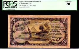 "EGYPT 13 ""PYRAMIDS OF GIZA"" 1918 5 EGYPTIAN POUNDS GRADED PCGS 20! TUT ... - $4,950.00"