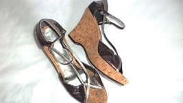 Kenneth Cole Kate Metallic Leather High Wedge Platform Shoes Graphics Wo... - $35.96