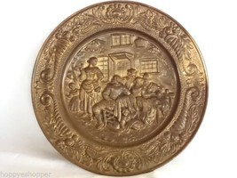 "Large 14.5"" Bas Relief Brass Plate Plaque Cabar... - $19.30"