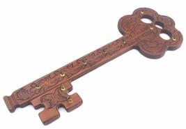 Handmade Hand Carved Ornate Wood Key Shaped Wall 10 Keys Rack Large - $21.80
