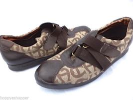 Etienne Aigner Giana Women 7.5 Sneaker Shoes Flats Zigzag Velcro Signature Print - $41.78