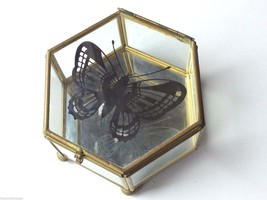 Hexagon Leaded Glass Trinket Jewelry Box Mirror Hinged Lid Butterfly Accent - $21.74