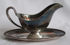 Wm Rogers Avon 3613 silverplate sauce bowl with plate dish server vintage - $11.57
