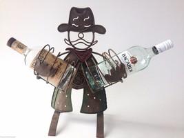 """COWBOY Metal Art 2 Bottle Holder Bar Dec 18""""H Funky You Get Kick Out of ... - $45.03"""