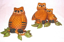 Vintage Homco Large 2 Owl Plaques 3D Wall Decor Dart Ind Collectible  - $19.29