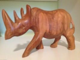 Hand Carved Teak Wood Rhinoceros Figure Sculpture Kenya Large Mint Vintage  - $24.38